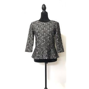 J Crew Black White Lace Peplum Half Sleeve Blouse